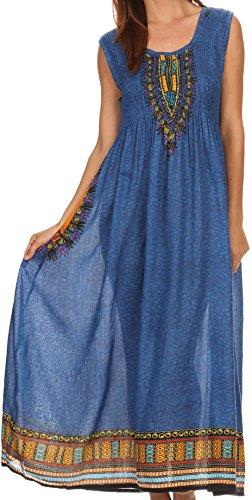 Sakkas Hoola Long Tall Cadrage en pied tribal imprimé Batik Débardeur Robe sans manches Bleu