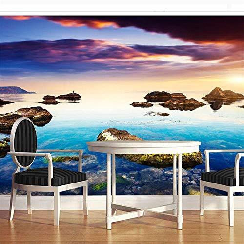Tapete,Benutzerdefinierte Gro&Szlig;E Fresko Tapete 3D Bunte Sea View Bimsstein Wandbild Hintergrund Wand Wohnzimmer Tapete,400 * 280cm