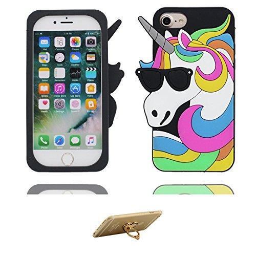 iPhone 6 Copertura,iPhone 6S Custodia,gatto bella 3D del fumetto Gomma morbida di silicone Supporto per copertina Case Cover per iPhone 6 / 6S + Supporto ad anello Kickstand & 3