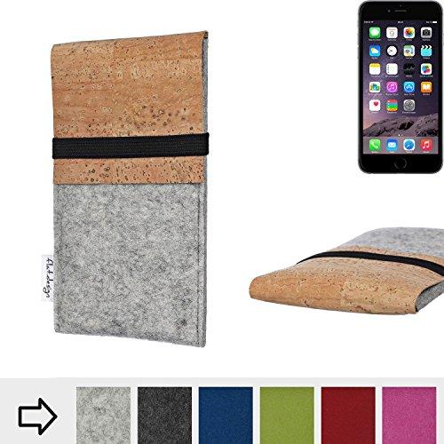 flat.design Filztasche SAGRES mit Korklasche für Apple iPhone 6 - einzigartige Handytasche aus 100% Wollfilz (hellgrau) - Case Hülle im Slim fit Design für Apple iPhone 6 hellgrau