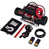 Buoqua 12v Electric Cable Winch 13500lbs/6120kg Elektrische Stahlseil Seilwinde Electric Recovery Winch with Remote Control Fernbedienung