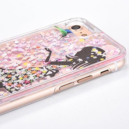 Voguecase Pour Apple iPhone 7 4,7, Luxe Flowing Bling Glitter Sparkles Quicksand et les étoiles Hard Case étui Housse Etui(Amour Quicksand-Pink sable-talons hauts rouges) de Gratuit stylet l'écran alé Amour Quicksand-Pink sable-jupe colorée fille