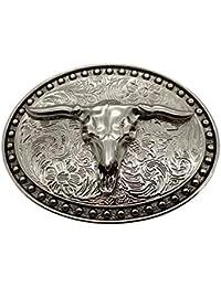 e632e4c18b YONE Fibbia per Cinture Silver Longhorn Texas Bull Belt Buckle Cowboy  Western Buckles