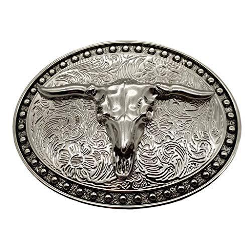 YONE Belt Buckle Silver Longhorn Texas Bull Belt Buckle Cowboy Western Buckles