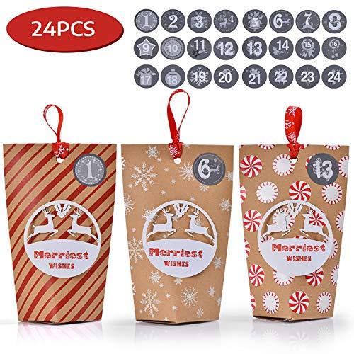 Ulikey 24 Calendrier de l'Avent, 24 Sacs en Papier avec Autocollants, Sacs en Papier Kraft à Remplir pour Baptême de Fête d'Anniversaire de Mariage Cadeaux de Noël