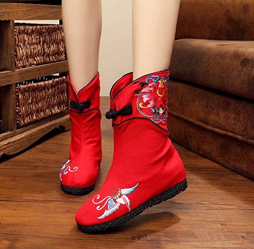 Khskx-dans L'automne De L'ancien Tissu Brodé À Beijing Les Chaussures Bottes Bottes Courtes Talon Vent National Femme Bottes Cuisse Bottes Seulement Bottes Raptor Rouge Trente-cinq
