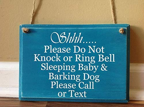 Monsety Shhh Please Do Not Knock Or Ring Bell Sleeping Baby Barking Dog Please Call or Text Sign Teal and White Sprüche Home Decor Wandschild Geschenk