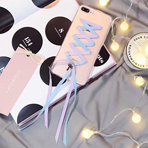 BING Für iPhone 7 Plus Ribbon Style Transparente weiche TPU schützende rückseitige Abdeckungs-Fall BING ( SKU : Ip7p6210r ) Ip7p6210l