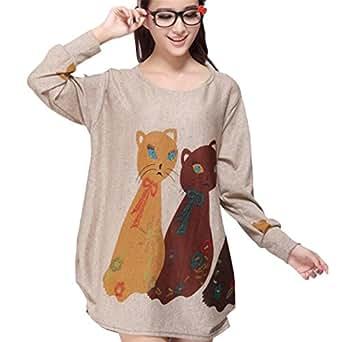 Nouvelle Flanelle Pour Femmes Haut A Manches Longues Blouse Chat Mignon Imprime Chemises T-Shirt Tee