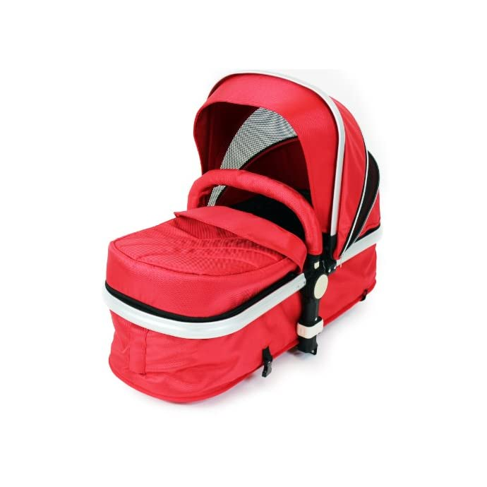 i-Safe System - Red Trio Travel System Pram & Luxury Stroller 3 in 1 Complete With Car Seat