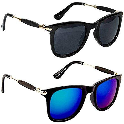 Sunglasses by Xforia Wayfarer Black & Blue Square Fashion Sunglasses Combo for Men & Women (Pack of 2)
