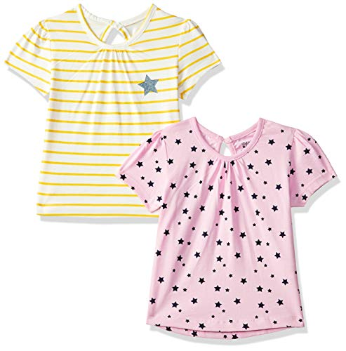 MINI KLUB Baby Girls'Plain Regular Fit T-Shirt (Pack of 2) (92IFGTS880_Multi_12-18M)