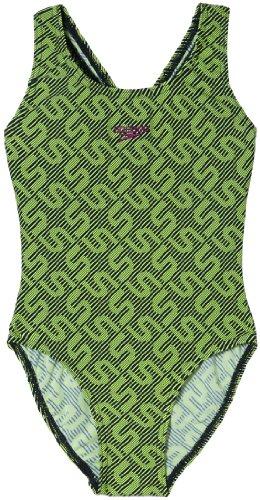 Kostüm Schwimmen Speedo Mädchen - Speedo Mädchen Schwimmanzug Monogram SPBK JF Navy/Green, 128