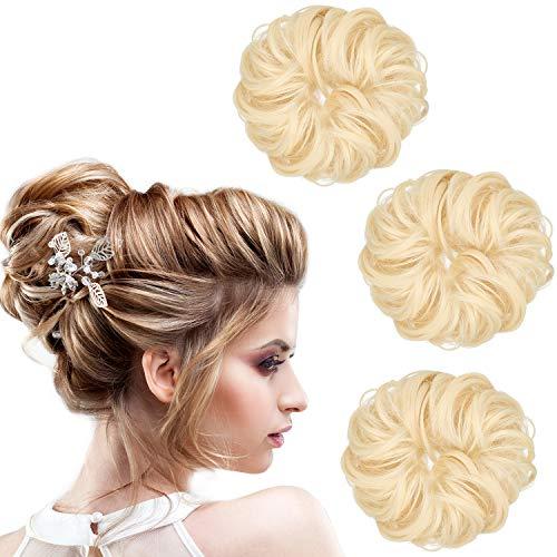 3 Stücke Synthetische Haarknoten Erweiterung Unordentlich Haarverlängerungen Donut Updo Pferdeschwanz Haarschmuck für Damen Frisur DIY (Farbe Satz 2)