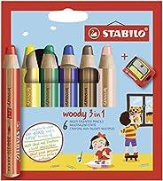 Crayon de coloriage - STABILO woody 3in1 - Étui carton x 6 crayons de couleur + taille-crayon