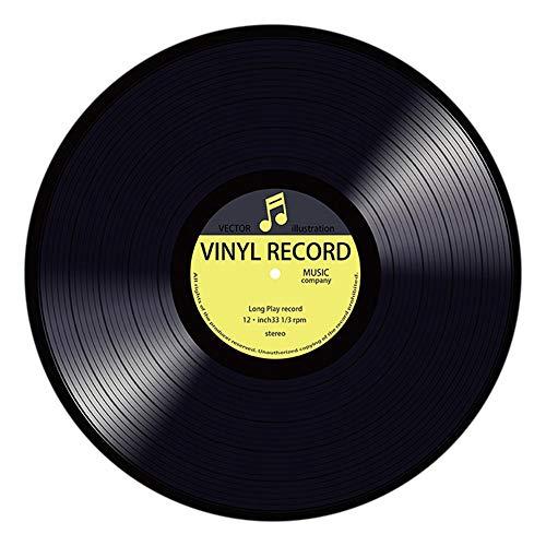 TianranRT Vinyl Schallplatte Gedruckt Weich Stoff Rund Boden Matte Teppich Zimmer Bereich Schlafzimmer Teppich (D)