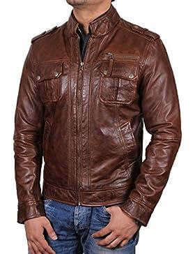Brandslock Para hombre de motorista chaqueta de cuero verdadera