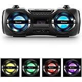 auna Soundblaster M Ghettoblaster chaîne stéréo multimédia avec Bluetooth 3.0 (25W RMS, lecteur CD/MP3, port USB, tuner FM, effet LED, télécommande) - noir