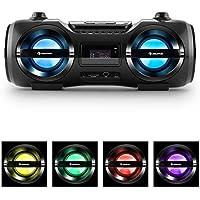 auna Soundblaster M Boombox con Bluetooth 3.0 (cadena estéreo, CD, USB, SD, MP3, AUX, radio FM, luz LED en 7 colores, potencia de 25 W RMS, mando a distancia, portátil) - negro