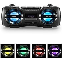 auna Soundblaster M Boombox con Bluetooth 3.0 (cadena estéreo, CD, USB, SD, MP3, AUX, radio FM, luz LED en 7 colores, potencia de 25 W RMS, mando a distancia, portátil) -