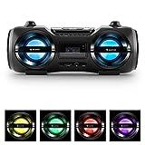 auna Soundblaster M • Ghettoblaster • Boombox • Bluetooth 3.0 • Reichweite bis 10 m • USB-/SD-Port • Aux • LED • 2 Stereo-Lautsprecher • Akku • Fernbedienung • Tragbar • Schwarz
