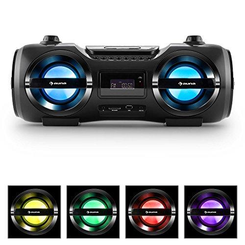 auna Soundstorm M • Ghettoblaster • Boombox • Bluetooth 3.0 • Reichweite bis 10 m • USB-Port • SD-Slot • AUX • LED • 2 Stereo-Lautsprecher • Akku-Betrieb • inkl. Fernbedienung • tragbar • schwarz