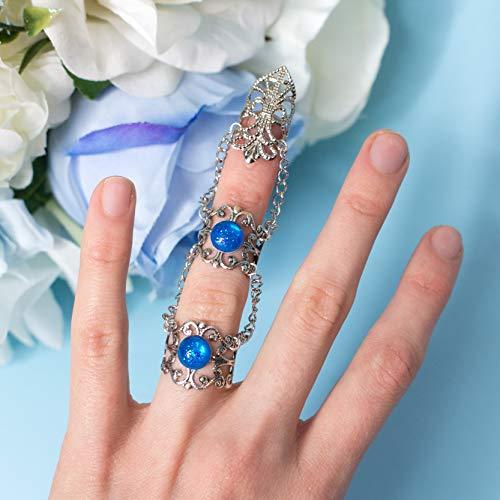 Siren Claw ring, Fantasy Ring Klaue mit zwei Ringen, filigran und Ketten, Blue Glitter Juwel,...