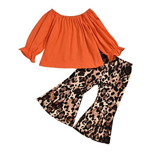 Allence Kleinkind Baby Mädchen Set Kleidung Streifen Langarmshirts + Leopard Schlaghose Set Herbst Süß Niedlich Outfit Set