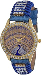 Swadesi Stuff Stylish Peacock Theme Blue Color Diamond Studded Belt and Dial Blue Color Luxury Watch for Girls and Women 0909