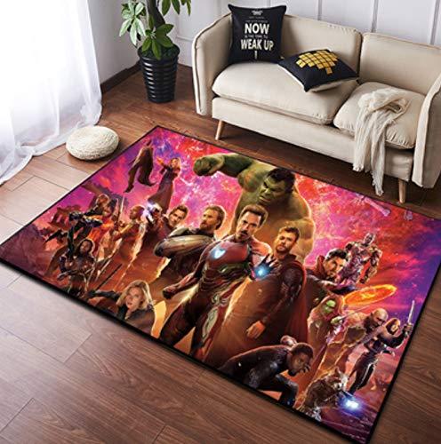 Zzqiao Alfombra Estilo De Europa Y América Dibujos Animados Anime Avengers Hulk Iron Man Área Antideslizante...