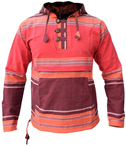 LITTLE KATHMANDU Männer Rot Braun Mix Pullover Schwer Baumwolle Grandad Hoodie X-Large Baja Womens Sweatshirt