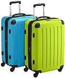 HAUPTSTADTKOFFER - Alex - 2er Koffer-Set Hartschale glänzend, TSA, 65 cm, 74 Liter, Apfelgrün-Cyanblau