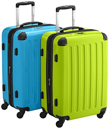 HAUPTSTADTKOFFER - Alex Kofferset - 2 x mittelgroßer Koffer Hartschalentrolley mit Erweiterung und TSA-Schloss, 55 cm, 42 Liter, Apfelgrün-Cyanblau