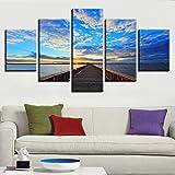Modulare Leinwand Bild Wandkunst HD Druck 5 Stück Holzbrücke Führt Zum Meer Gemälde Sonnenuntergang Landschaft Modern Decor Zimmer, 20x35 20x45 20x55cm, Rahmen