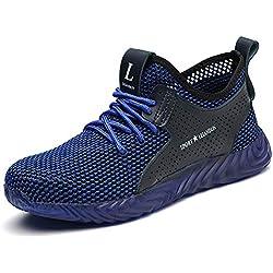 CHNHIRA Chaussures de Sécurité pour Hommes Femmes Embout Acier Protection Léger Basket Respirant Chaussures de Travail (EU43 Bleu)