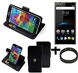 K-S-Trade® Case Schutz Hülle für Oukitel K3 + Bumper Handyhülle Flipcase Smartphone Cover Handy Schutz Tasche Walletcase schwarz (1x)