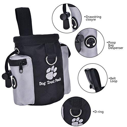 wulirose 1PCS Hunde Leckerli Futter Tasche Training Bag Hund Snack Bags Taschen mit Hundekotbeutel Tasche Spender Taille Clip und Kordelzug