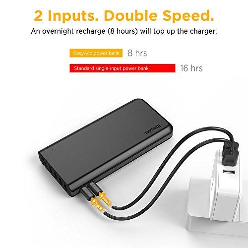 EasyAcc-26000mAh-Cargador-Porttil-Batera-Externa-4-Puertos-de-Salida-2-Puertos-de-entrada-Powerbank-con-Linterna-para-iPhone-iPad-Samsung-HTC-LG-Nexus-BQ-Tablets-Negro-y-Gris