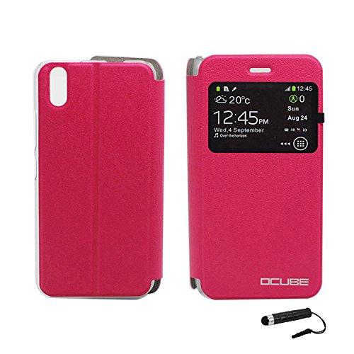 Owbb Hülle für Ulefone Paris Handyhülle Hard Plastik PU Ledertasche Flip Cover Tasche Hülle Case mit Stand Function Retro Klapphülle Design Rose Red