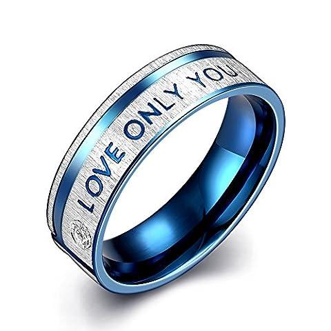 KOLOVEADA LOVE ONLY YOU Herren Engagement Hochzeit Ringe mit Zirkonia Stein, Diamant Ringe Versprechen Band Ringe Herren Charm Schmuck Geschenk Blau 6 MM (57 (18.1))