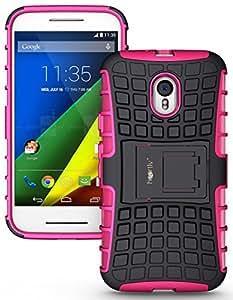Heartly Flip Kick Stand Spider Hard Dual Rugged Armor Back Case For Motorola Moto G3 / Moto G 3rd Generation / Moto G Turbo - Cute Pink
