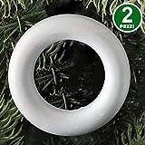 Bakaji Christmas Set 2 Anellii Cerchi in Polistirolo Bianchi Decorazioni Natalizie Addobbi di Natale da Personalizzare (32 cm)