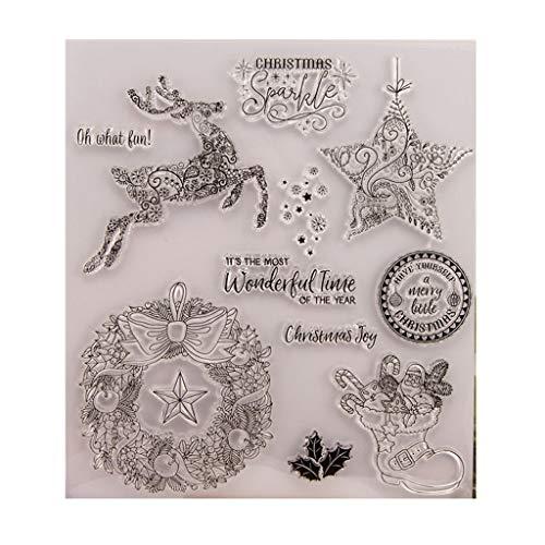 Xurgm Silikonstempel Weihnachten DIY Silikon Klar Stempel Blatt Scrapbooking Album Foto DIY Weihnachten Valentinstag Thanksgiving Geschenke (Klare Ornamente Diy)