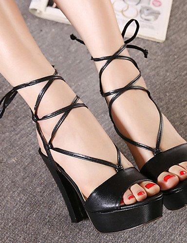 UWSZZ IL Sandali eleganti comfort Scarpe Donna-Sandali-Formale-Tacchi / Plateau / Aperta-Quadrato-Finta pelle-Nero / Tessuto almond Black