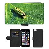 Just carcasa caliente estilo ranura de tarjeta de teléfono celular Funda de piel sintética//m00138235Caterpillar Lepidoptera Hoja Verde//Apple iPhone 6Plus 5.5'