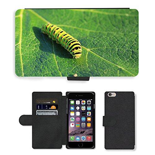 Just Mobile pour Hot Style Téléphone portable étui portefeuille en cuir PU avec fente pour carte//m00138235Caterpillar vert feuille lépidoptères//Apple iPhone 6Plus 14cm