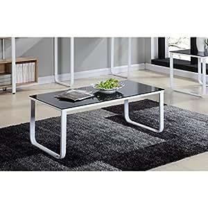 PROFIL Table basse métal 110cm - Noir et blanc