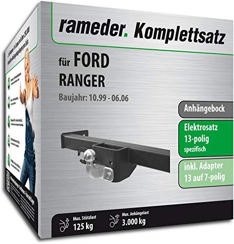 Rameder Komplettsatz, Anhängebock mit 2-Loch-Flanschkugel + 13pol Elektrik für Ford Ranger (122265-04509-2)