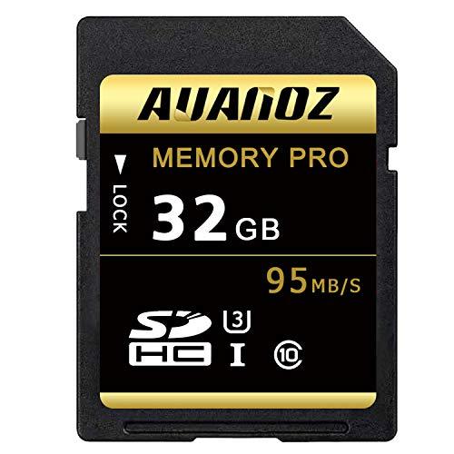 Auanoz TF-Speicherkarte 32GB, Ultra Klasse 10 UHS-I High Speed Speicherkarte Geeignet für Kameras und CamcorderU3,Bis zu 95 MB/s,Klasse 10.(Schwarz/Gold) -