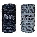 #5: Vheelocityin Royal Enfield Buff Bandana Headwear - Set of 2 Black and White